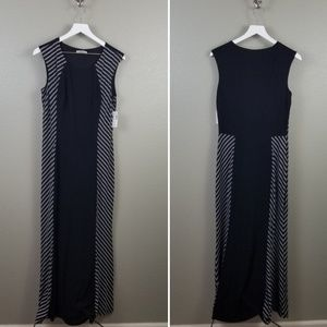 Dressbarn Black White Striped Maxi Dress Medium
